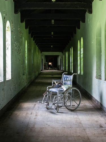 wheelchair sitting in hallway